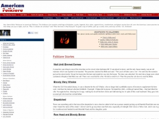 Screen shot of American Folklore homepage