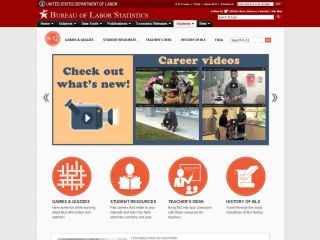 Bureau of Labor Statistics - screen shot