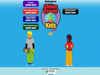 Clever Crazes for Kids homepage screen shot