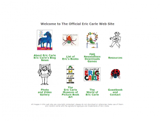 screen shot - Eric Carle website