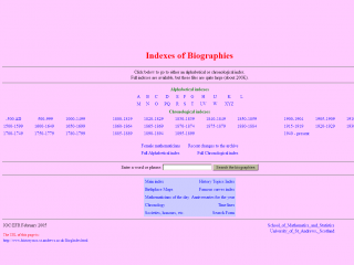 Indexes of Biographies screen shot