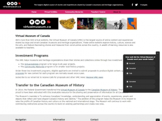 Virtual Museum of Canada - screen shot