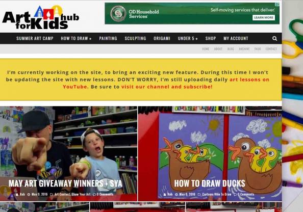 Screen shot: Art for Kids Hub