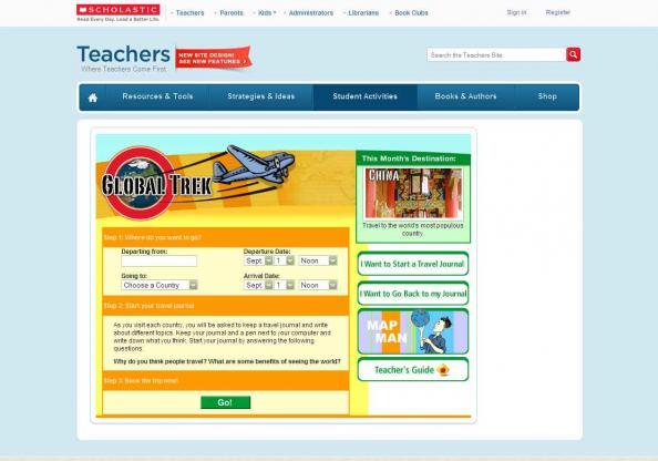 screen shot of Global Trek site