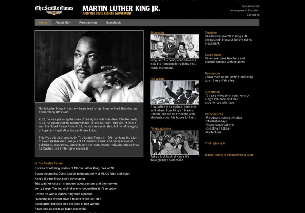 Screen shot of Martin Luther King Jr. website homepage